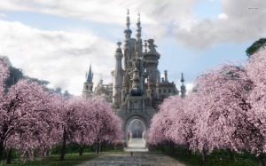 8121-castle-and-sakura-trees-1680x1050-fantasy-wallpaper