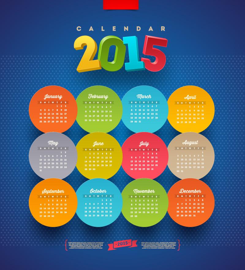 Calendar-2015-Round-Stickers-Vector