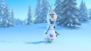 frozen.filme.olaf.boneco.de.neve.na.neve com flor.olaf.snowman.pine.trees.flower.snow.carrot.nose.disney.animation