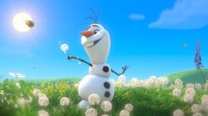frozen.filme.olaf.boneco.de.neve.no.campo.olaf.snowman.countryside.bees.flowers