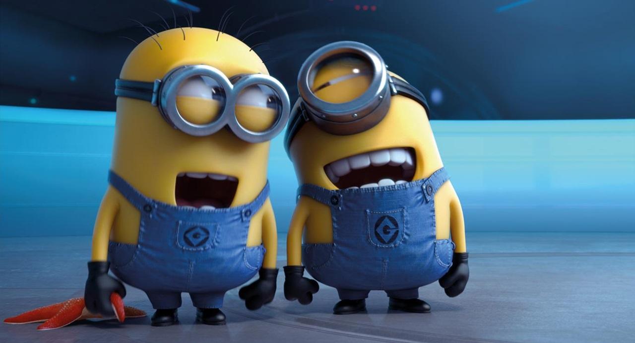 meu..malvado.favorito.2.despicable.me.gru.groo.minions.banana.laughing.rindo.glasses.óculos.macacão.amarelos.bichinhos.amarelos.engraçados.wallpaper.papel de parede