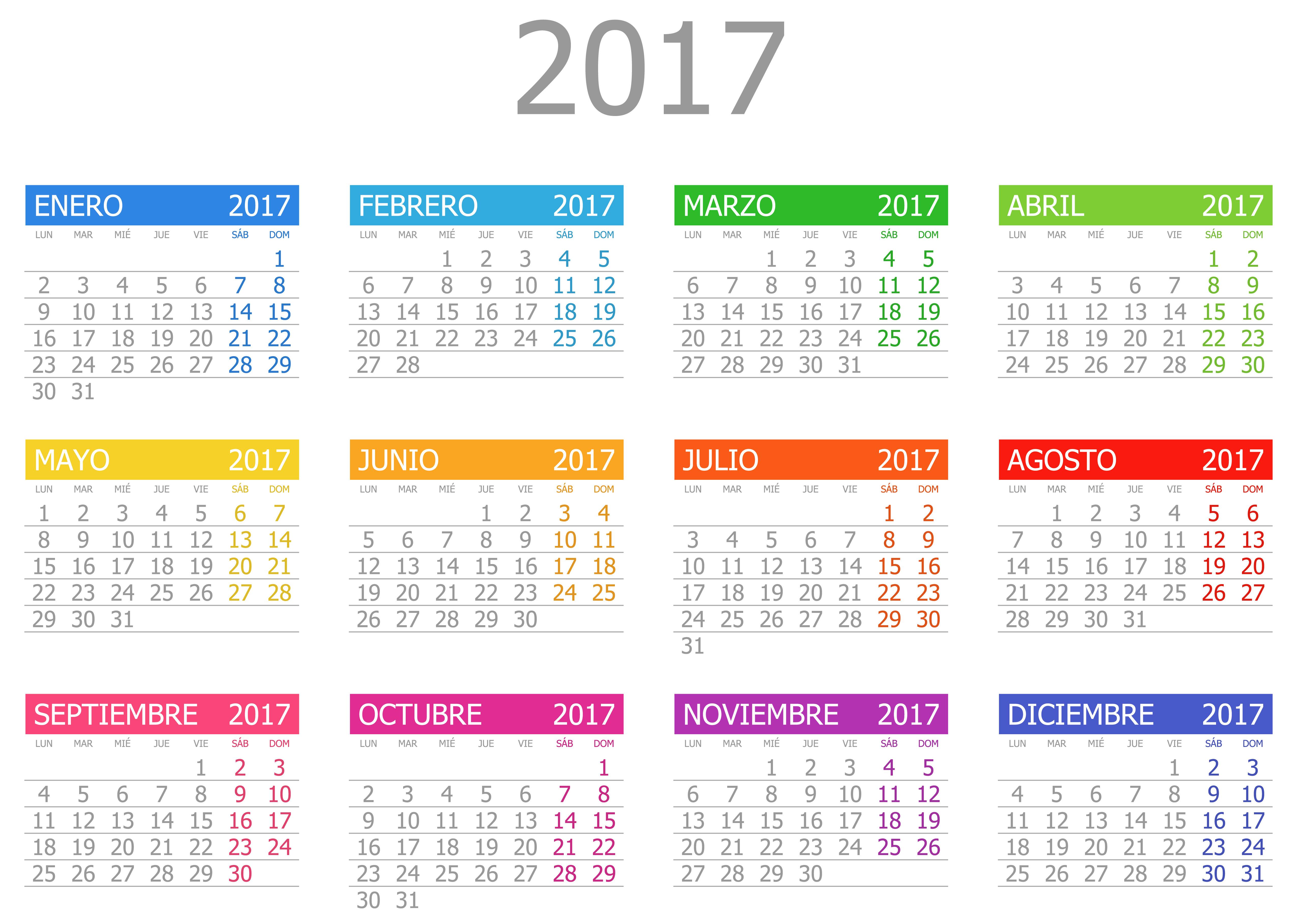 Calendarios 2017 calendars aurora - Calendario 2017 para imprimir por meses ...