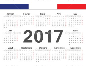 Vector french circle calendar 2017. Week starts from Monday.
